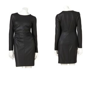 Jennifer Lopez Faux Leather Ponte Sheath Dress